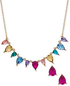 Gold-Tone Multicolor Crystal Statement Necklace & Stud Earrings Set, Created for Macy's