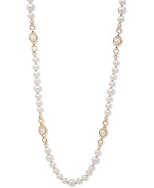 "Gold-Tone Imitation Pearl Beaded 42"" Strand Necklace"