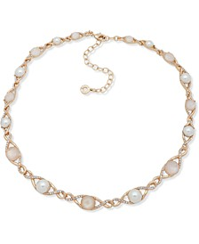 "Gold-Tone Pavé, Stone & Imitation Pearl Collar Necklace, 16"" + 3"" extender"