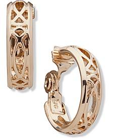 "Gold-Tone Small Openwork Clip-On Hoop Earrings, 1"""