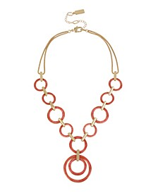Gold-Tone Marble Link Statement Necklace