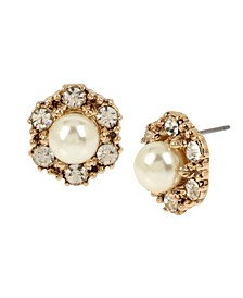 New York Imitation Pearl Flower Stud Earrings
