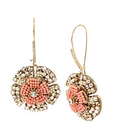 New York Woven Flower Long Drop Earrings