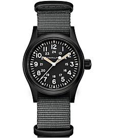 Unisex Swiss Mechanical Khaki Field Black Nato Strap Watch 38mm