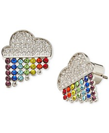 Silver-Tone Multicolor Cubic Zirconia Raining Cloud Stud Earrings