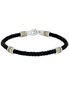 EFFY® Men's Black Leather Bracelet in Sterling Silver & 18k Gold-Plate