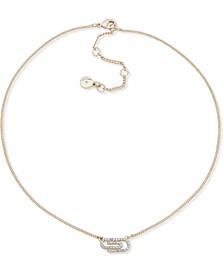 "Gold-Tone Pavé Paper Clip Collar Necklace, 16"" + 3"" extender"