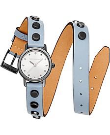 Women's BFFL Studded Dusty Blue Double Wrap Leather Strap Watch 25mm