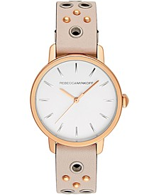 Women's BFFL Rose Gold-Tone Stud & Blush Leather Strap Watch 35mm