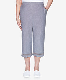 Alfred Dunner Pull On Chambray Capri with Lace Trim
