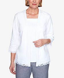 Lace Trim Three-Quarter Sleeve Two-For-One Knit Top