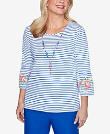 Three-Quarter Bell Sleeve Striped Knit Top with Detachable Necklace