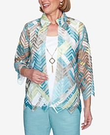 Three Quarter Sleeve Zigzag Woven Two-For-One Top with Detachable Necklace