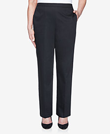 Alfred Dunner Pull On Back Elastic Sateen Proportioned Pant