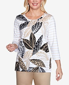 Three Quarter Sleeve Batik Leaves Striped Knit Top with Embellished Neckline