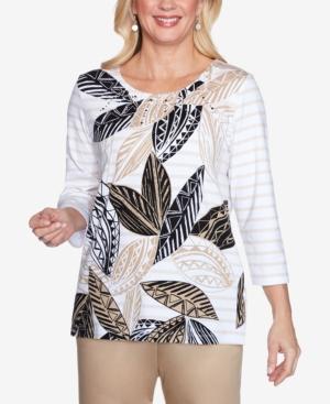 Three Quarter Sleeve Batik Leaves Striped Knit Top with Embellished Neckline