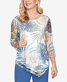 Three Quarter Sleeve Asymmetrical Tropical Leaves Mesh Knit Top