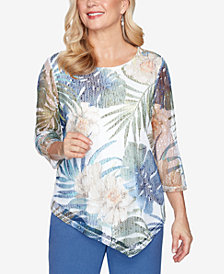Alfred Dunner Three Quarter Sleeve Asymmetrical Tropical Leaves Mesh Knit Top