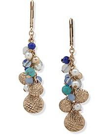 Gold-Tone & Multicolor Bead Shaky Linear Drop Earrings