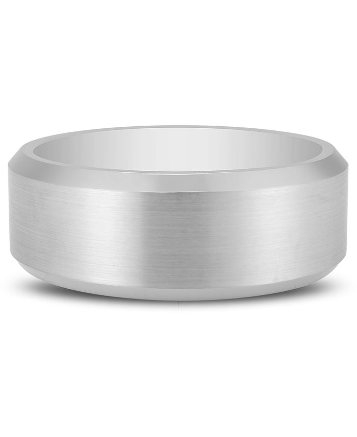 Macy's - Men's Bevel Edge Band in White Ion-Plated Tantalum