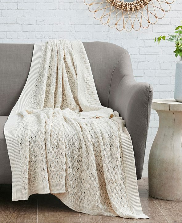 Madison Park Willow Honeycomb Knit Cotton Throw