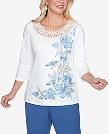 Plus Size Three Quarter Sleeve Asymmetric Floral Knit Top with Crochet Yoke