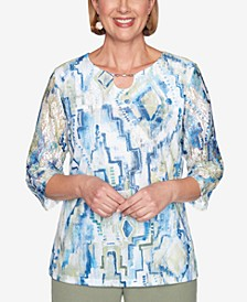 Plus Size Three Quarter Sleeve Geometric Watercolor Print Knit Top