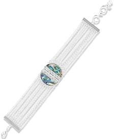 Silver-Tone Pavé & Abalone Multi-Row Bracelet