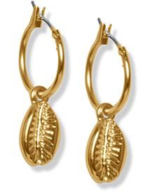 Gold-Tone Shell Charm Huggie Hoop Earrings