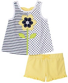 Toddler Girls 2-Pc. Striped Dot-Print Tank Top & Shorts Set