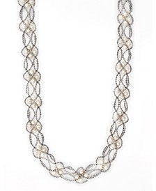 """EFFY® Cultured Freshwater Pearl (3-1/2 mm) Mesh Cage 18"""" Statement Necklace in Sterling Silver"""