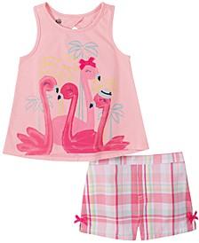 Toddler Girls 2-Pc. Flamingo Tank Top & Plaid Shorts Set