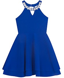 Big Girls Embellished-Neck Skater Dress