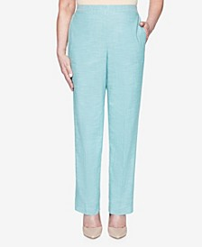 Plus Size Pull On Back Elastic Textured Proportioned Medium Pant