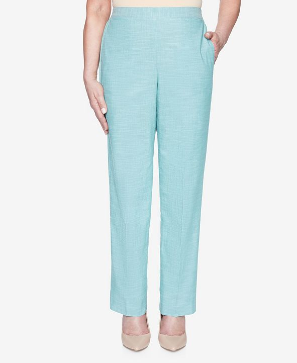 Alfred Dunner Plus Size Pull On Back Elastic Textured Proportioned Medium Pant