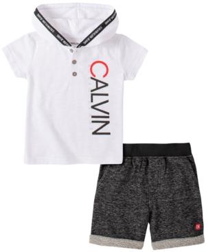 Calvin Klein Baby Boys 2-Pc. Hooded Top & Shorts Set