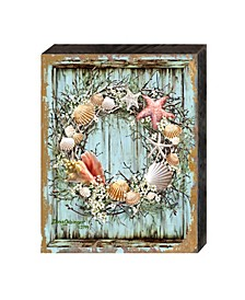 Christmas Coastal Wreath by Dona Gelsinger Wooden Block