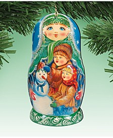 Matreshka Doll Wooden Ornaments, Set of 2