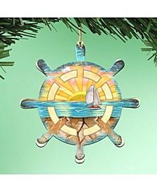 Captains Wheel Wooden Ornaments Set of 2