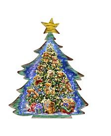 Teddy Bear Tree Wooden Ornaments Set of 2