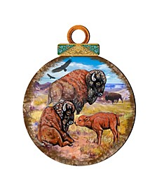 Buffalos Ball Wooden Ornaments, Set of 2