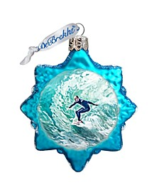 Surfers Hand Painted Glass Ornament