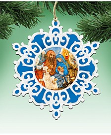Nativity Snowflake Wooden Christmas Ornament Set of 2