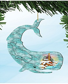 Rustic Humpback Whale Coaster 2 Wooden Ornaments Set of 2