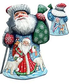 Woodcarved Hand Painted Mrs. and Mr. Santa Figurine