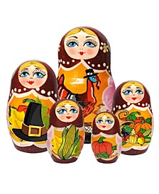 Thanksgiving 5 Piece Russian Matryoshka Wooden Nested Dolls Set