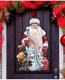 Santa and A Honey Bear Christmas Door Hanger