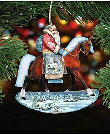 Horsey Santa Wooden Christmas Ornament Set of 2
