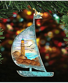 Light House Scenic Boat Scenic Wooden Christmas Ornament Set of 2