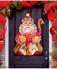 Flamingo Santa Tropical Christmas Door Hanger